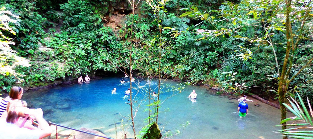 Inland Blue Hole Belize great swim stop in the jungle